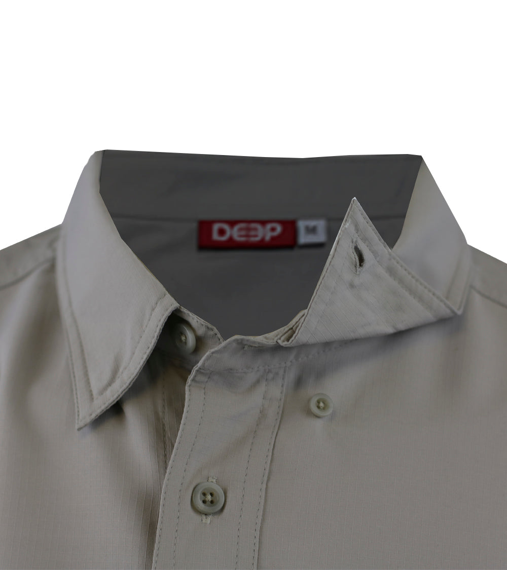 Boat to Bar Long Sleeve Grey Button Up Collar