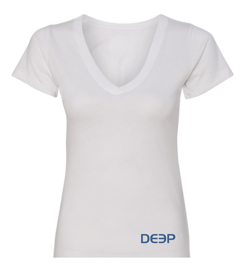 Women's White V-Neck T