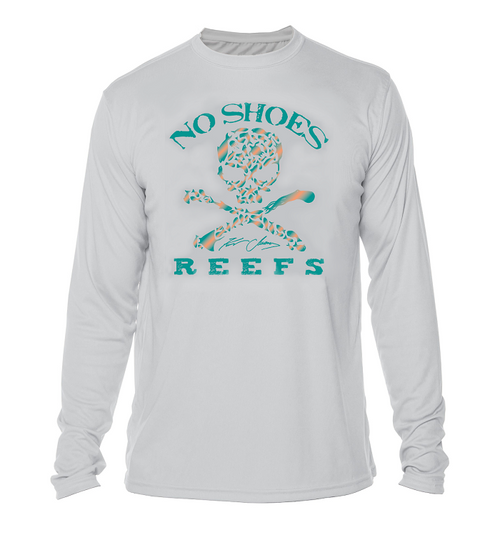 No Shoes Nation Repreve Long Sleeve Performance - Pearl Grey/Green Logo