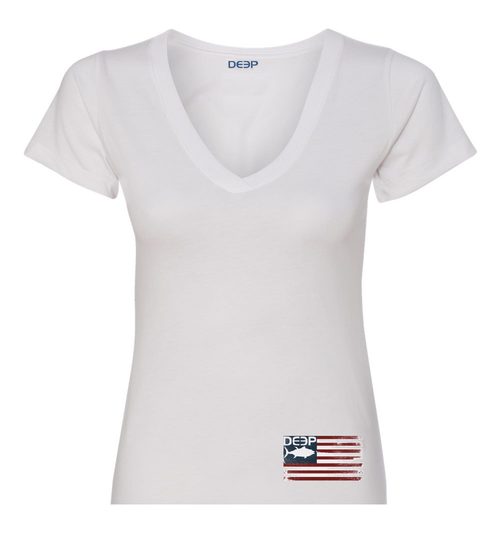 Women's Tuna Flag V-Neck T