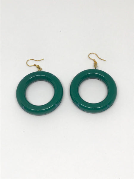 Anneaux starburst émeraude / Emerald hoop starburst earrings