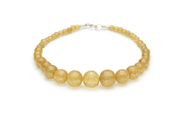 Collier de perle brillantes or / Pale Gold glitter beads necklace