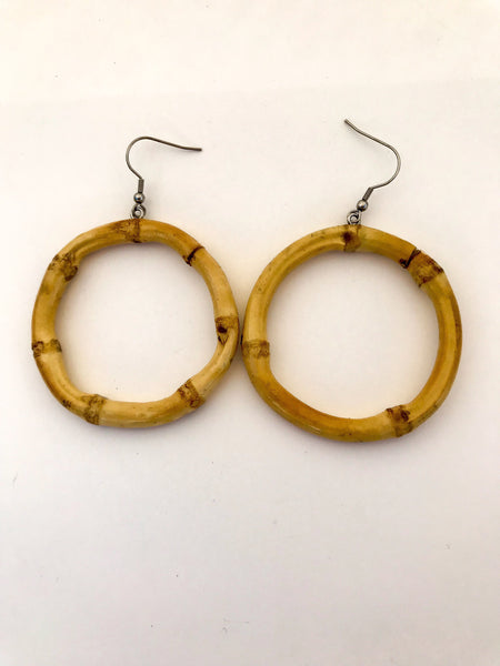 Boucles d'oreilles en bambou véritable - Ronde / Round real bamboo earrings - Vintage Romance