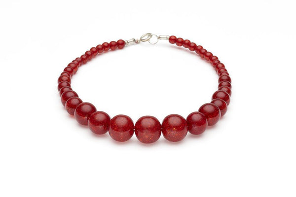 Collier de perle brillantes rouge / Red glitter beads necklace