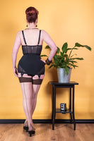 Bas à coutures contrastées café H2074 / Seamed stockings contrast coffee H2074
