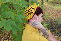 Filet à cheveux pinup 1940 moutarde / Mustard Pinup hair snood 1940