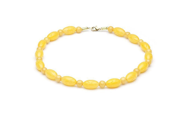 Collier de perles de fakelite citron / Carved lemon fakelite beads