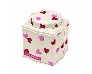 Pink Hearts Wave Tea Caddy Tin