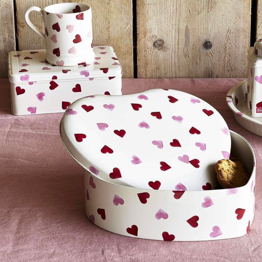 Pink Hearts Large Heart Shaped Tin