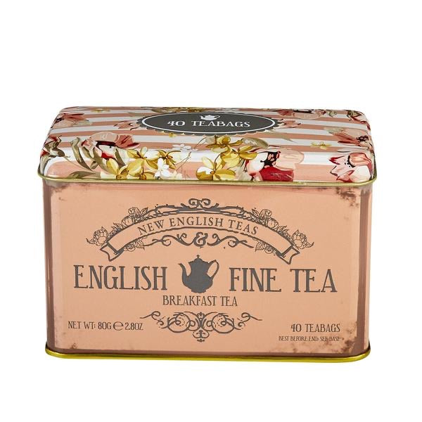 English Pink Floral Tea Tin 40 Tea Bags