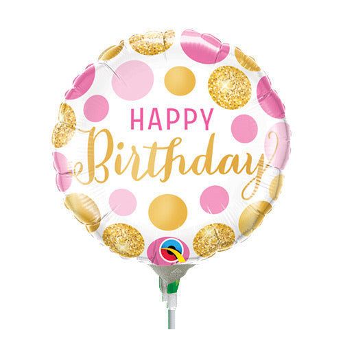 Happy Birthday Pink & Gold Mini Balloon
