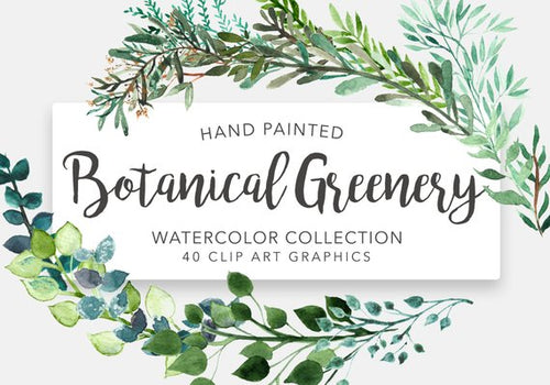 40 WATERCOLOR BOTANICAL GREENERY (clipart download)