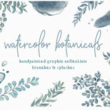 Teal Splashes and Botanicals Clipart