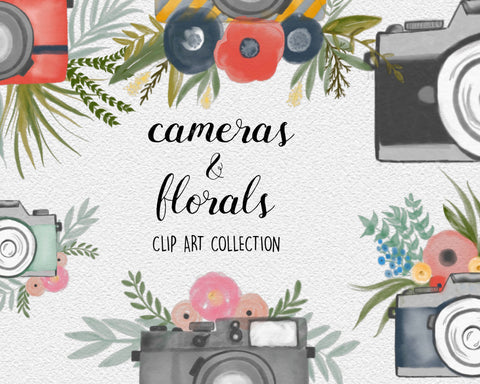 WATERCOLOR CAMERA CLIPART branding kit, commercial use, photography logo art, brand design graphics, bouquets, photo blog design elements