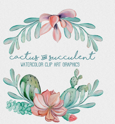 26 WATERCOLOR CACTUS CLIPART download, commercial use, digital watercolor, succulent clipart, wreaths, bouquets, floral design elements