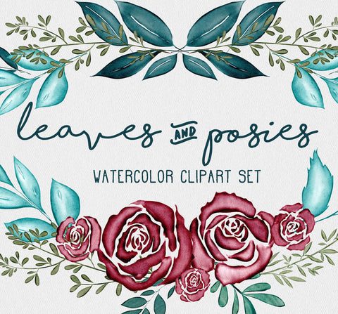POSIES + LEAVES Floral Clipart, commercial use, digital watercolor, floral clipart, leaves, wreaths, bouquets, greenery, eucalyptus