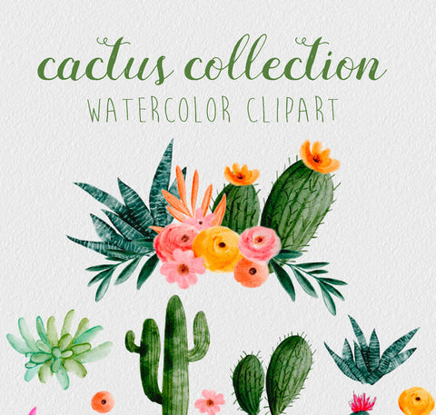 20 WATERCOLOR CACTUS CLIPART, commercial use, digital watercolor, cacti clipart, wreaths, floral design elements, southwest graphic art
