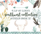 45 SOUTHWEST FLORAL CLIPART, commercial use, digital watercolor, southwestern clipart, tribal boho skulls, cactus, floral design elements