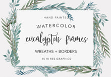 Load image into Gallery viewer, Eucalyptus Wreaths Watercolor Clipart Collection