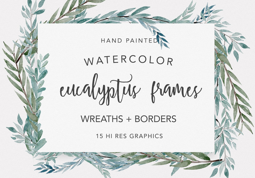 Eucalyptus Wreaths Watercolor Clipart Collection