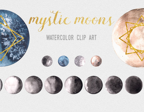 22 WATERCOLOR MOON CLIPART, commercial use, digital watercolor, astronomy, planet galaxy graphic artwork, space, astrology clipart graphics