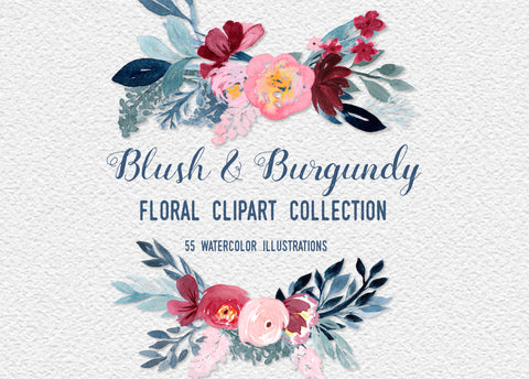 BLUSH + BURGUNDY Floral Clipart download, commercial use, watercolor winter floral graphics, leaves, wreaths, bouquets, greenery, PNGs