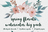 Spring Florals Watercolor Clipart + Seamless Patterns + Digital Papers download,  floral clipart, greenery, leaves, wreaths, diy pack