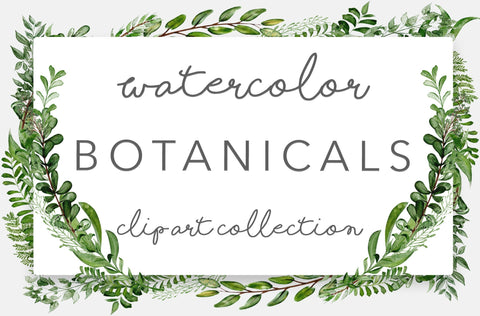 WILD GREENERY BOTANICALS, commercial use, muted watercolor illustration, greenery clipart graphics, wreaths, modern, greens, foliage, leaves
