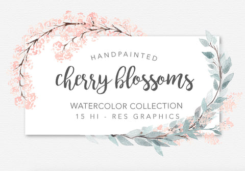 WATERCOLOR CHERRY BLOSSOMS clipart download, commercial use, painted floral illustration, floral wreaths, greenery graphics, soft botanicals