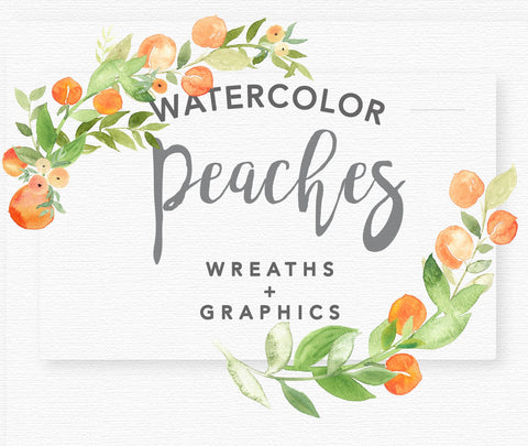 WATERCOLOR PEACHES + GREENERY clipart download, commercial use, painted floral illustration, peach fruit clipart, peaches wreaths, graphics