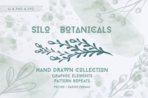 BOTANICAL GREENERY GRAPHICS clipart instant download, commercial use, vector svg illustrations, lush greenery clipart, wreaths, patterns, ai