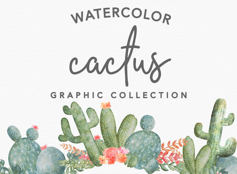 40+ WATERCOLOR CACTUS CLIPART, commercial use, digital watercolor, cacti clipart, wreaths, floral design elements, southwest graphic art