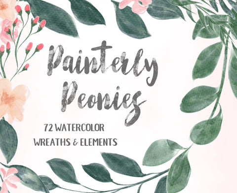 FLORAL GARDEN WATERCOLOR clipart download, commercial use, painted clipart graphics, peony wreaths, greenery illustrations, soft botanicals