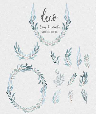 WATERCOLOR WREATHS + LEAVES, graphic download, commercial use, muted watercolor florals, soft botanical clipart, wreaths, modern botanicals