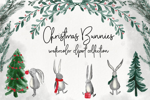 CHRISTMAS BUNNIES CLIPART, instant downloadable file, printable, watercolor floral, holidays, flowers, wreaths, ivy, holly, mistletoe rabbit