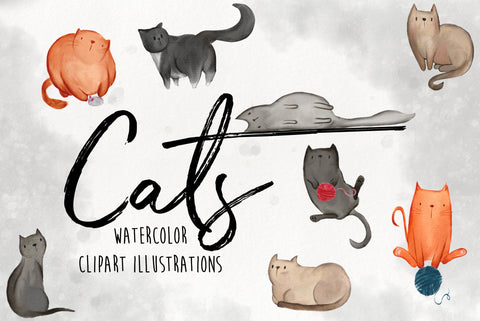 WATERCOLOR CAT ILLUSTRATIONS clipart, commercial use watercolor graphics, kittens, cat lady, nursery decor, instant download, kitty clipart
