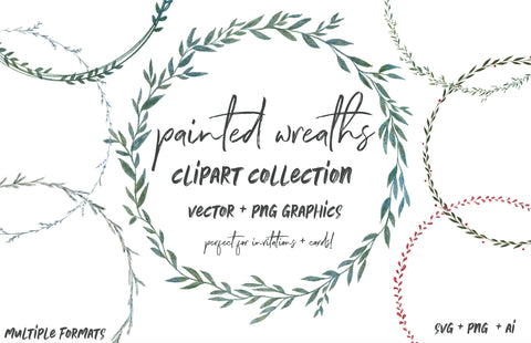 WATERCOLOR GREENERY WREATHS, commercial use, muted watercolor floral, foliage, branches frames, modern botanical greenery leaves, vector svg