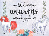 WATERCOLOR UNICORN CLIPART, commercial use floral graphics, magic fantasy mystic graphics, unicorn illustrations, birthday party clipart