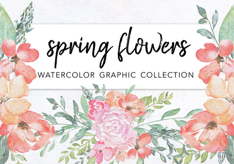 WATERCOLOR SPRING FLOWERS clipart download, commercial use, painted floral illustration, bright flora wreaths, greenery graphics, botanicals