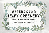 LEAFY GREENERY BOTANICALS, commercial use, greenery frames, leaf frame, greenery clipart graphics, wreaths, modern, greens, foliage leaves
