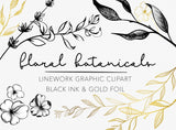 LINEWORK BOTANICALS, commercial use, modern ink flower illustrations, foliage, branches frames florals tattoos greenery leaves, svg graphic