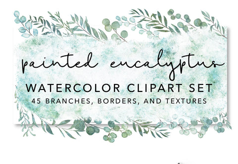 WATERCOLOR EUCALYPTUS CLIPART, commercial use, muted watercolor textures, eucalyptus graphics, wreaths, modern botanicals greenery leaves