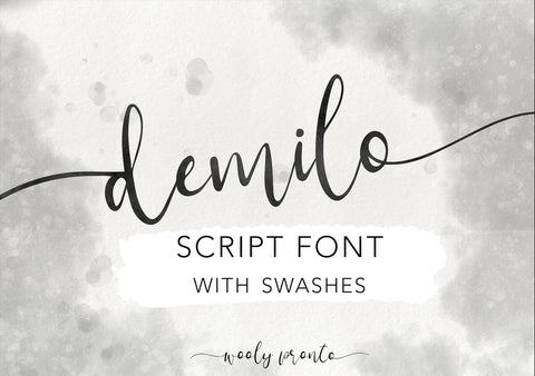 DEMILO Modern Brush Script Font with Swashes, Digital Download, Commercial Use Modern Calligraphy OTF, hand drawn script, templett corjl use
