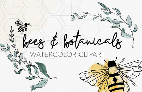 BEES + BOTANICALS | Watercolor Clipart Graphics | commercial use, wreaths, modern greens, SVG file, hive illustration, tattoo ink drawings