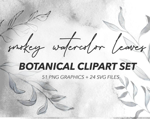 SMOKEY BOTANICAL CLIPART, commercial use, muted watercolor graphics, eucalyptus, grey, black white, wreaths, modern greenery leaves