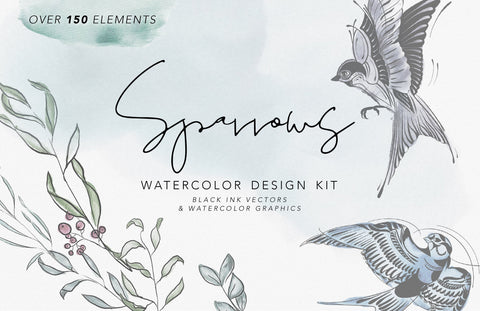 SPARROWS & FLORALS | Watercolor Clipart Graphics | commercial use, wreaths, modern greens, SVG file, bird illustration, tattoo ink drawings