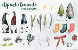 COZY CHRISTMAS COLLECTION clipart, downloadable file, printable, watercolor floral, holidays, flowers, wreaths, ivy, holly, mistletoe, gnome