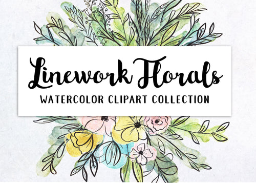 Linework Florals and Botanicals Clipart Collection