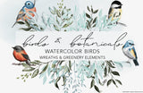 Birds & Botany: Watercolor Frames & Illustrations