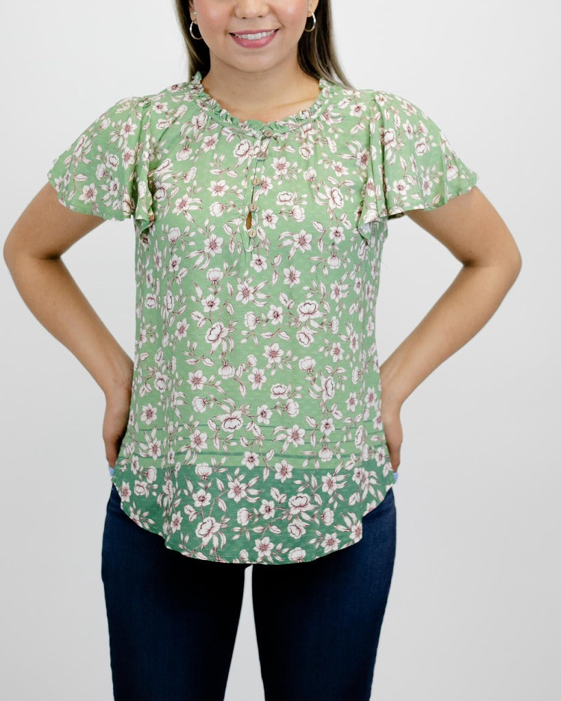 Democracy Cascade Short Sleeve Ruffle Neck Floral Print Top
